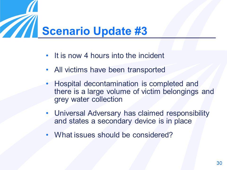 Scenario Update #3 It is now 4 hours into the incident