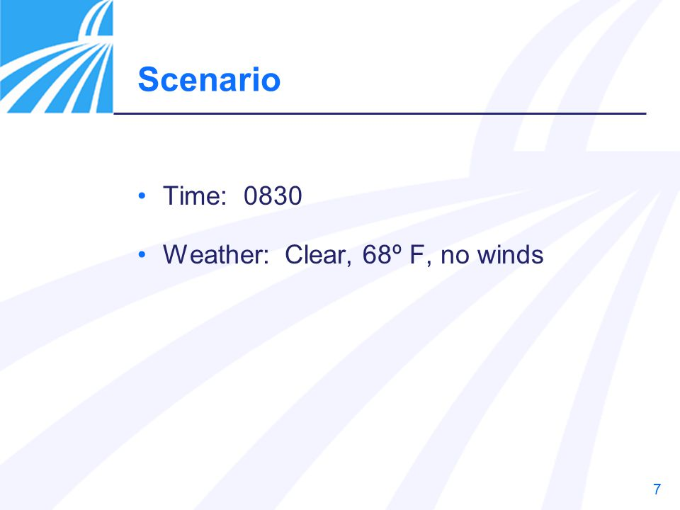 Scenario Time: 0830 Weather: Clear, 68º F, no winds