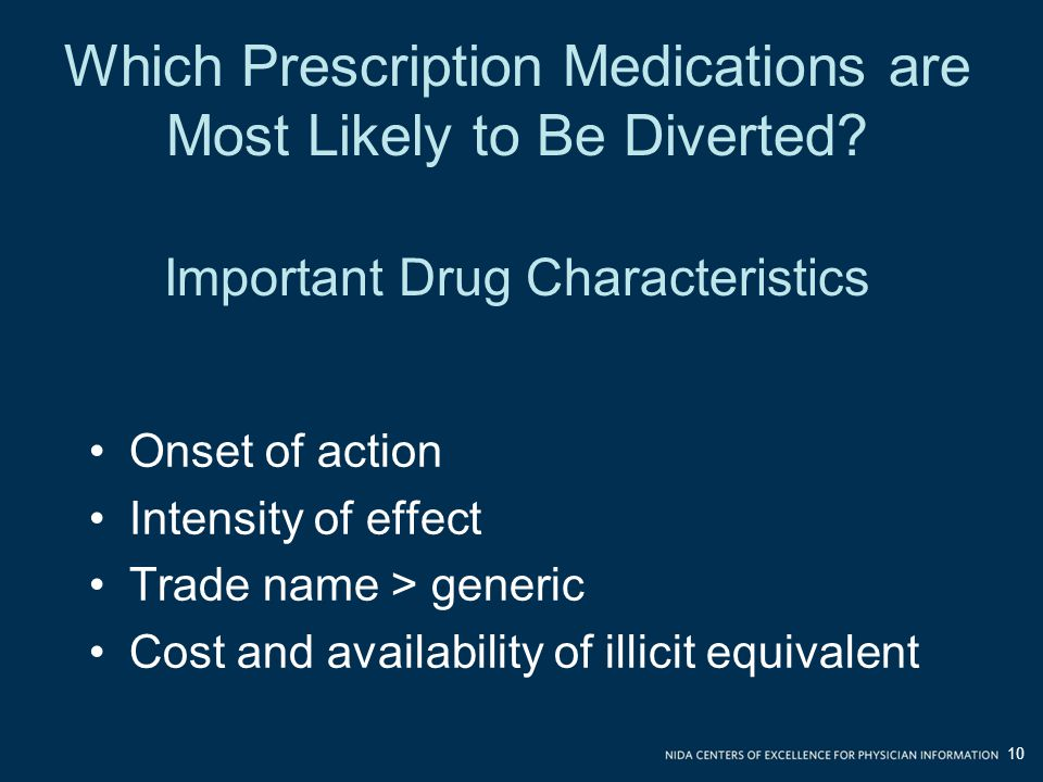 Which Prescription Medications are Most Likely to Be Diverted