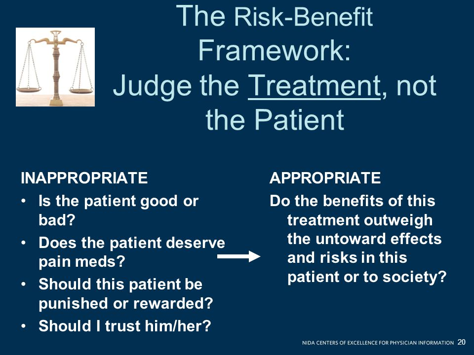 The Risk-Benefit Framework: Judge the Treatment, not the Patient