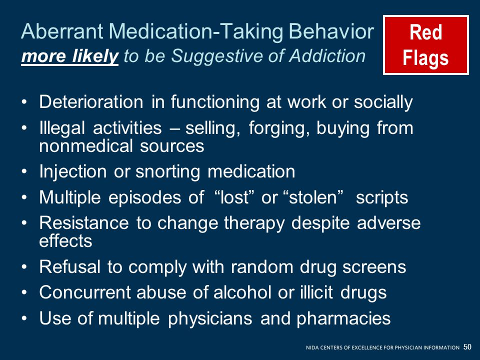 Red Flags. Aberrant Medication-Taking Behavior more likely to be Suggestive of Addiction. Deterioration in functioning at work or socially.