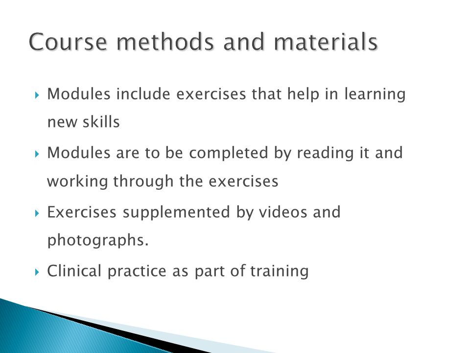 Course methods and materials