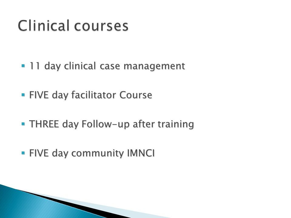 Clinical courses 11 day clinical case management