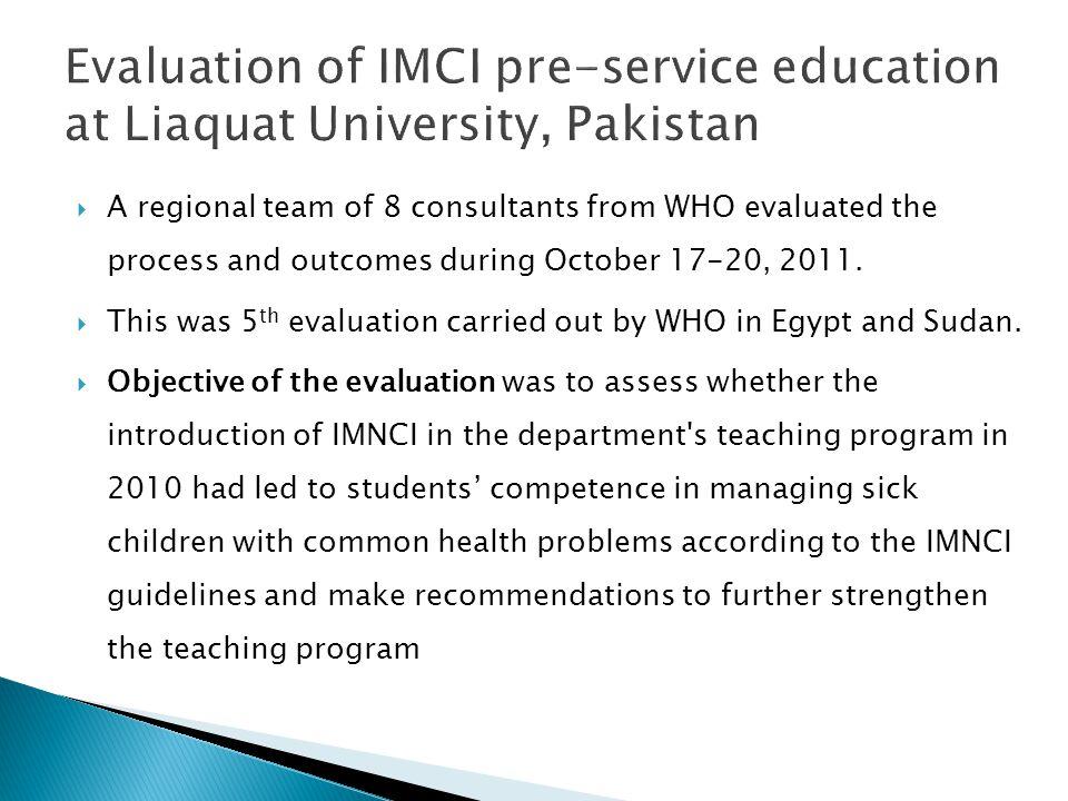 Evaluation of IMCI pre-service education at Liaquat University, Pakistan