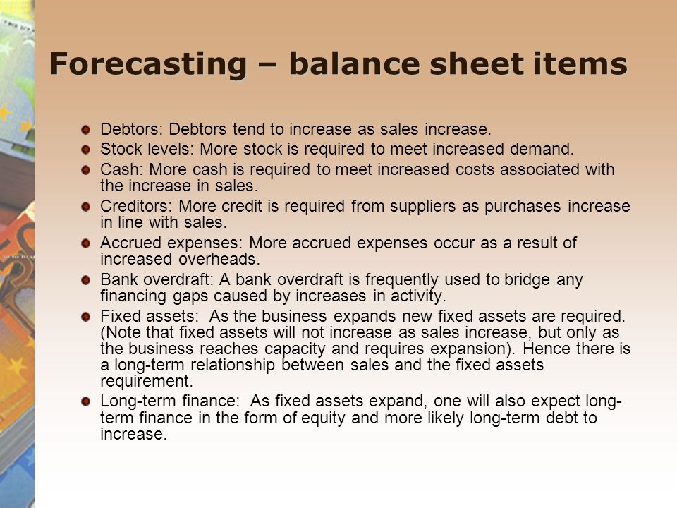 Forecasting – balance sheet items