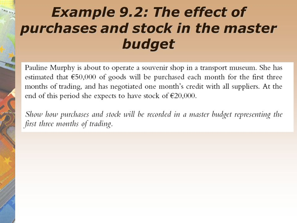 Example 9.2: The effect of purchases and stock in the master budget