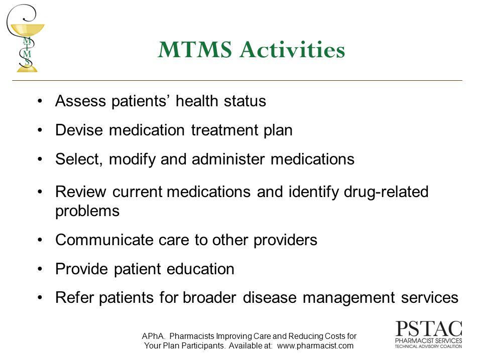 MTMS Activities Assess patients' health status