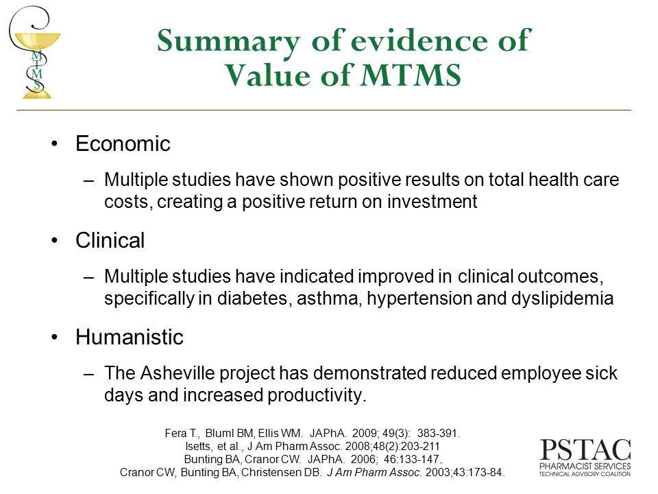 Summary of evidence of Value of MTMS
