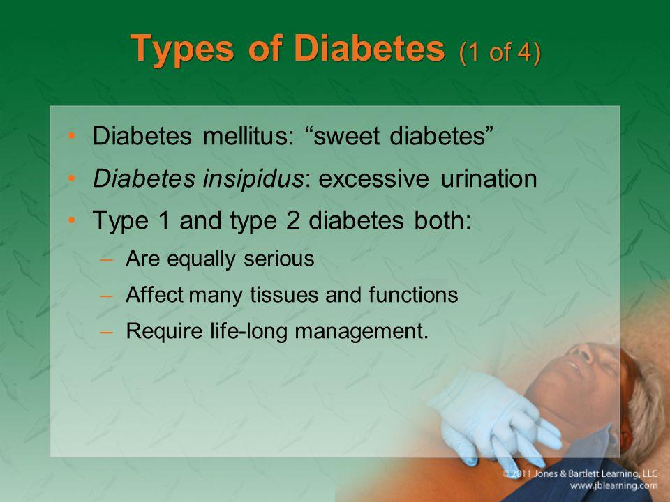 Types of Diabetes (1 of 4) Diabetes mellitus: sweet diabetes