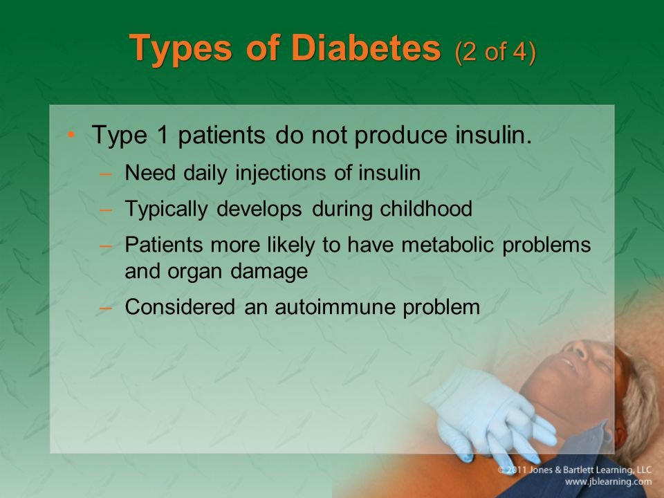 Types of Diabetes (2 of 4) Type 1 patients do not produce insulin.