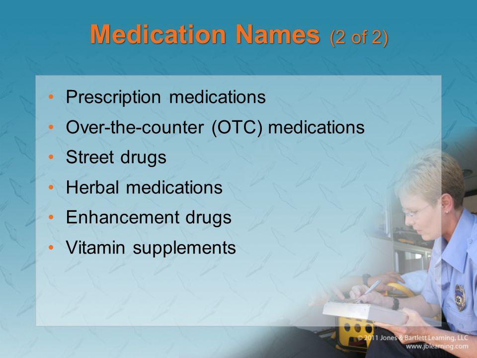Medication Names (2 of 2) Prescription medications