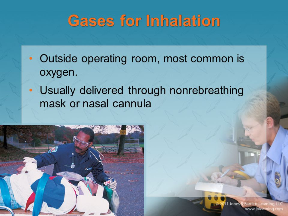 Gases for Inhalation Outside operating room, most common is oxygen.