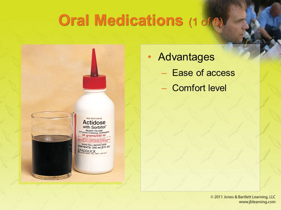 Oral Medications (1 of 6) Advantages Ease of access Comfort level