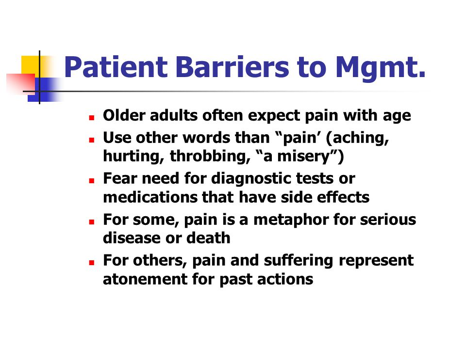 Patient Barriers to Mgmt.