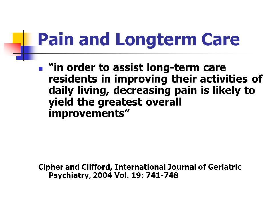 Pain and Longterm Care