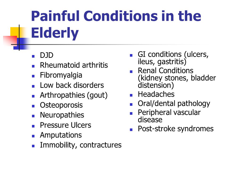 Painful Conditions in the Elderly