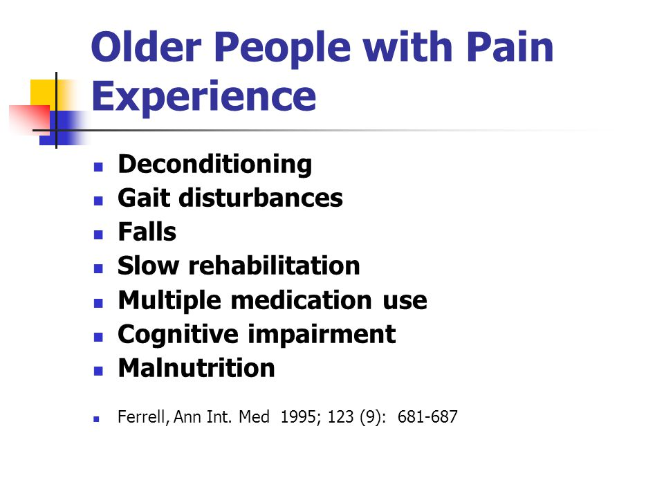 Older People with Pain Experience