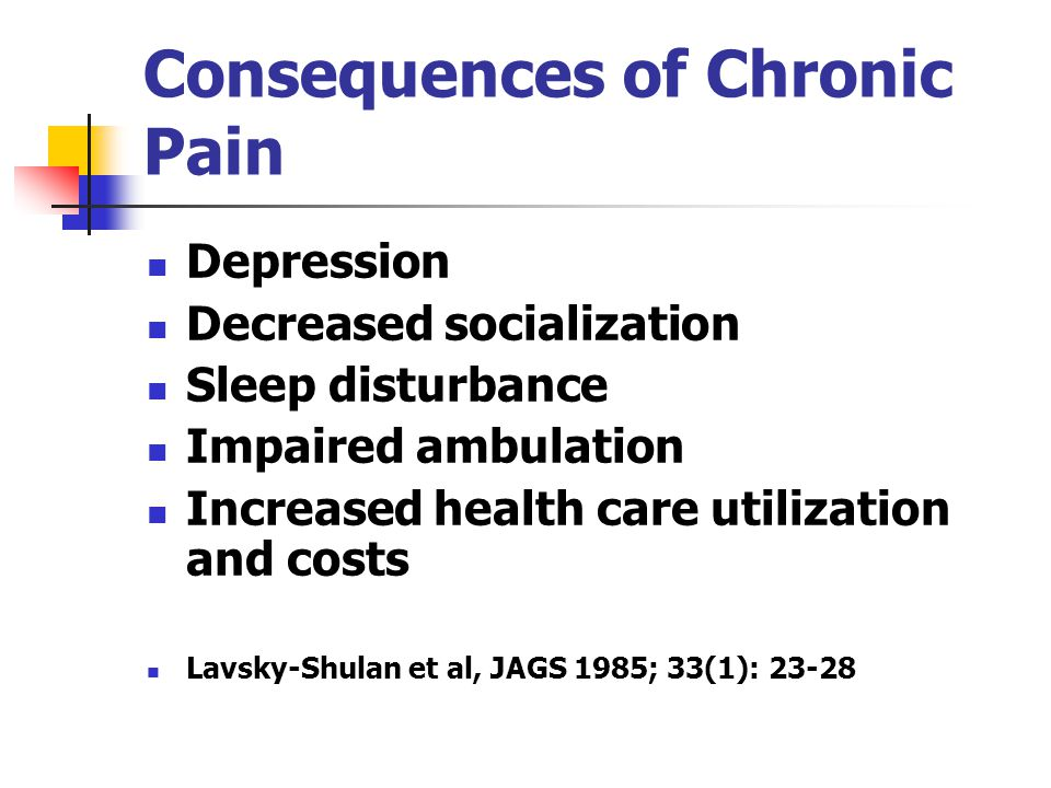 Consequences of Chronic Pain