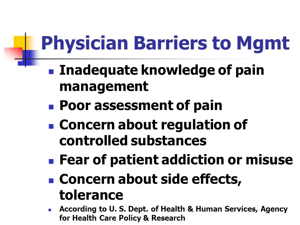 Physician Barriers to Mgmt