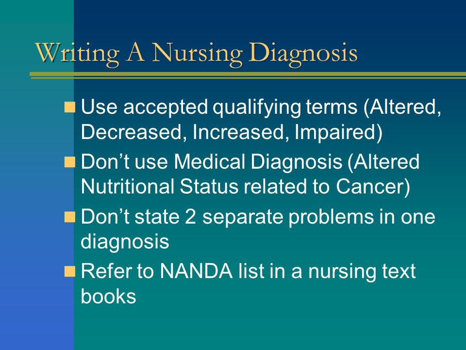 Writing A Nursing Diagnosis