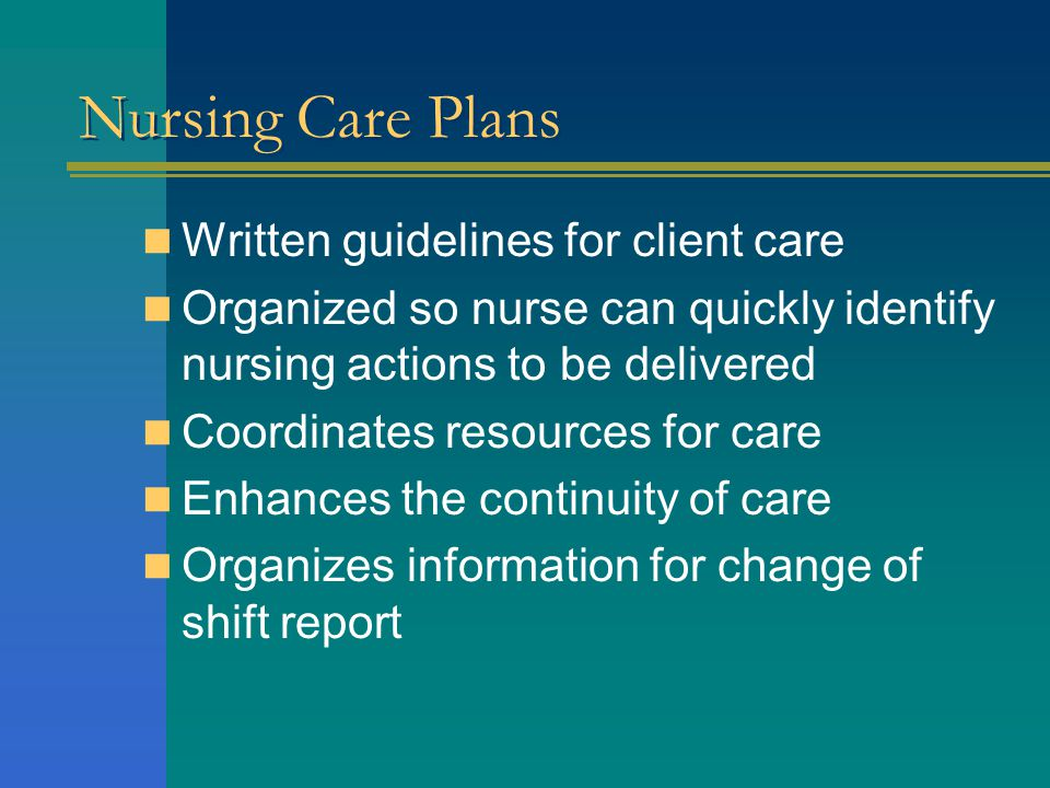 Nursing Care Plans Written guidelines for client care