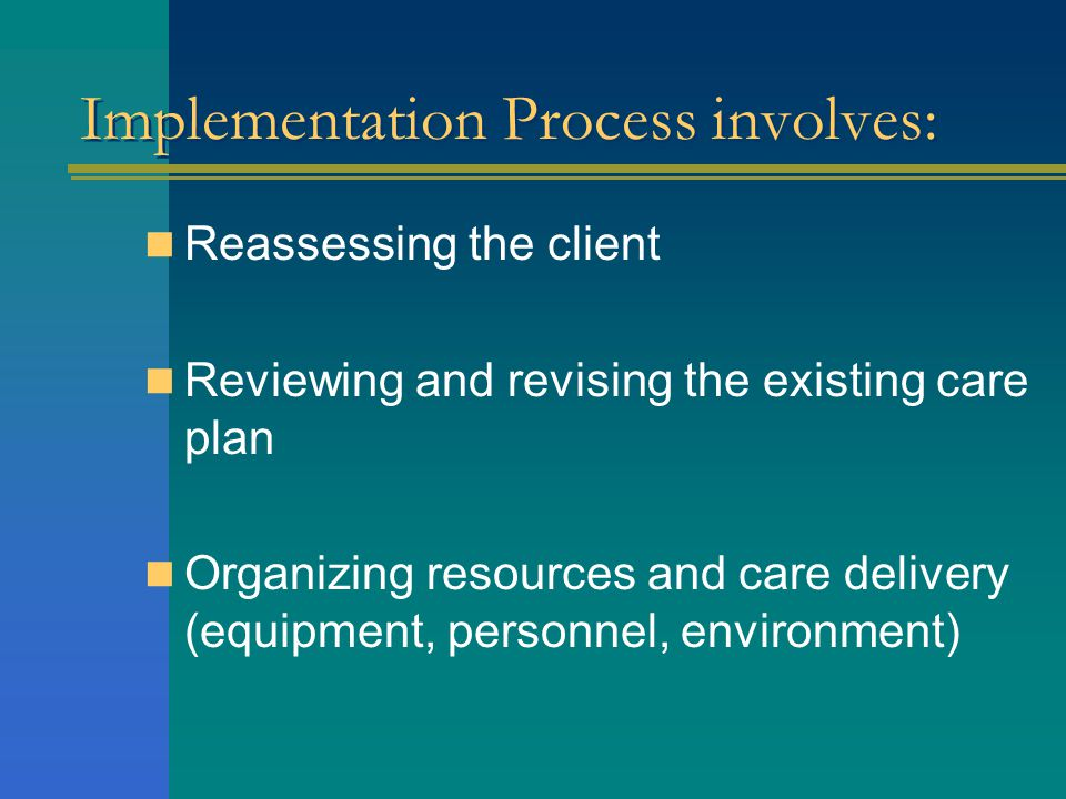 Implementation Process involves:
