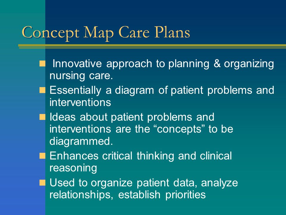 Concept Map Care Plans Innovative approach to planning & organizing nursing care. Essentially a diagram of patient problems and interventions.