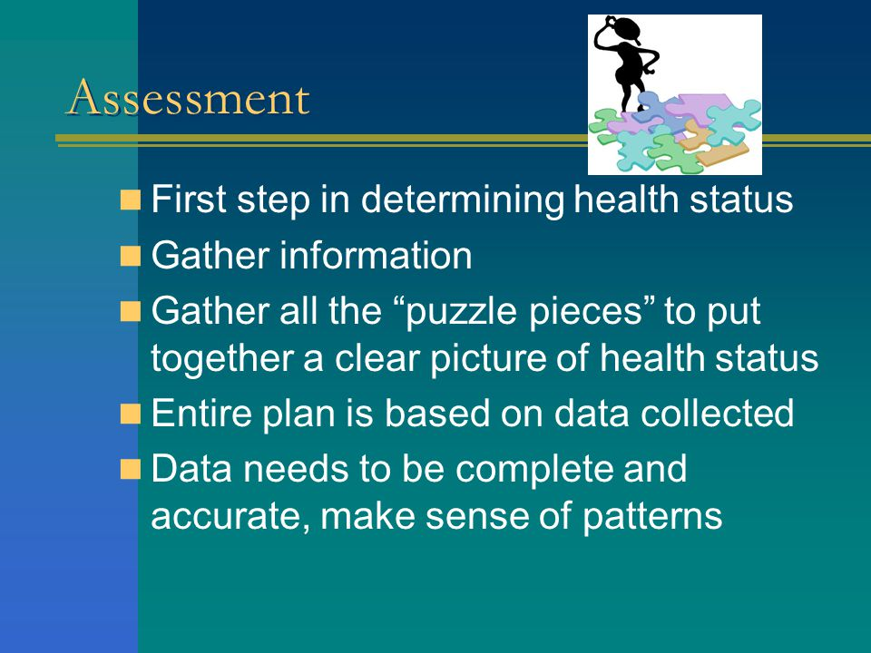 Assessment First step in determining health status Gather information