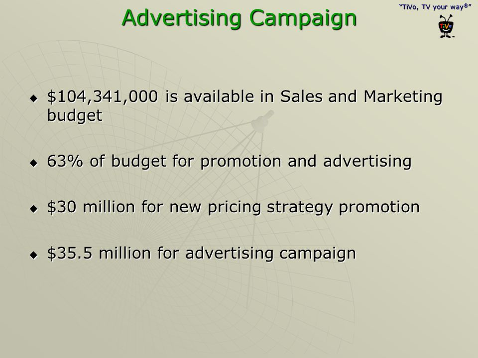 Advertising Campaign $104,341,000 is available in Sales and Marketing budget. 63% of budget for promotion and advertising.