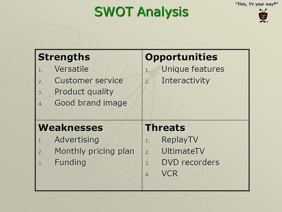 SWOT Analysis Strengths Opportunities Weaknesses Threats Versatile
