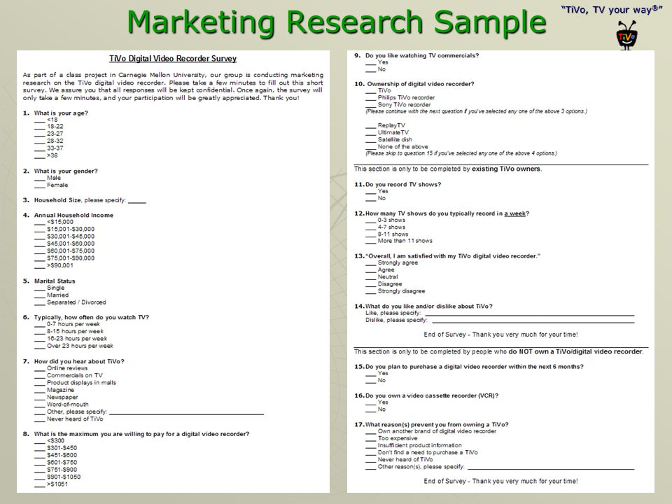 Marketing Research Sample