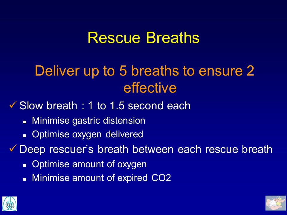 Deliver up to 5 breaths to ensure 2 effective