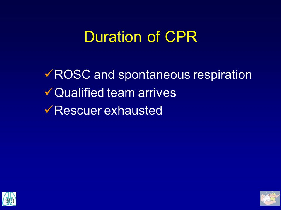 Duration of CPR ROSC and spontaneous respiration