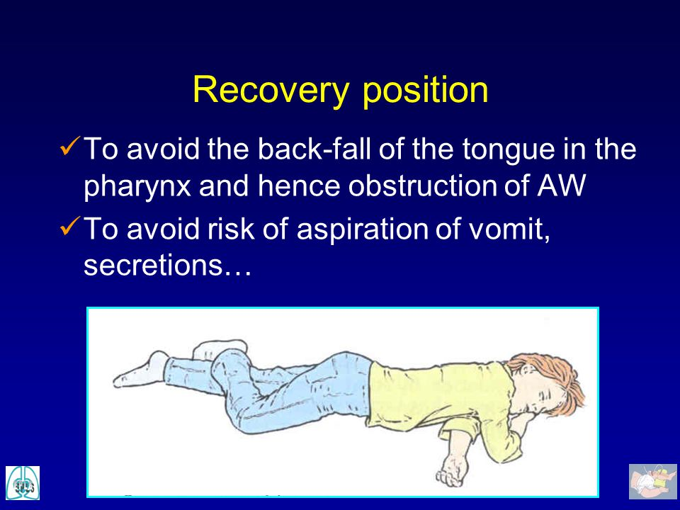 Recovery position To avoid the back-fall of the tongue in the pharynx and hence obstruction of AW.