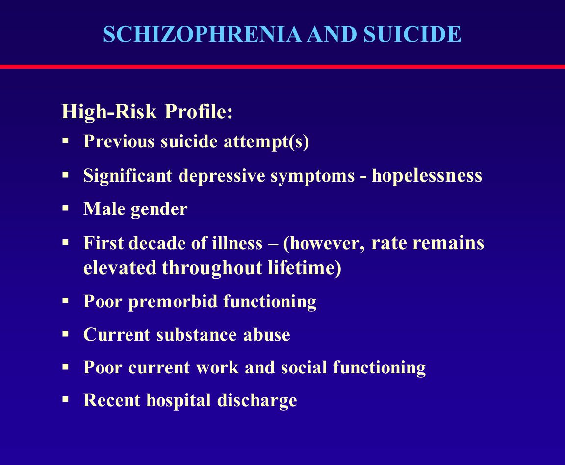 SCHIZOPHRENIA AND SUICIDE