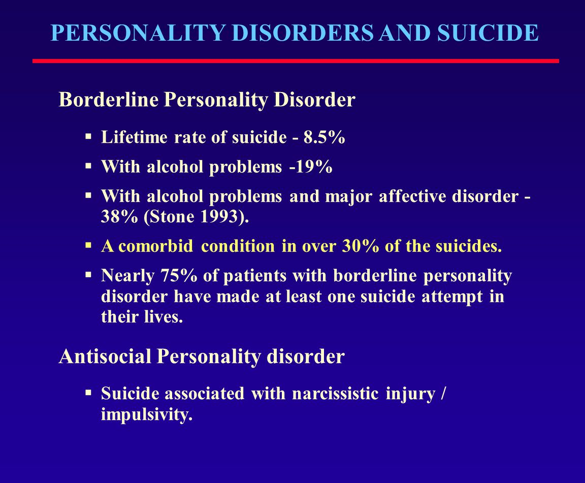PERSONALITY DISORDERS AND SUICIDE