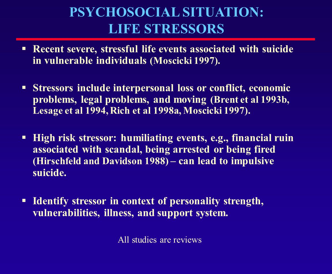 PSYCHOSOCIAL SITUATION: