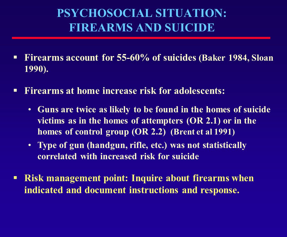 PSYCHOSOCIAL SITUATION: FIREARMS AND SUICIDE