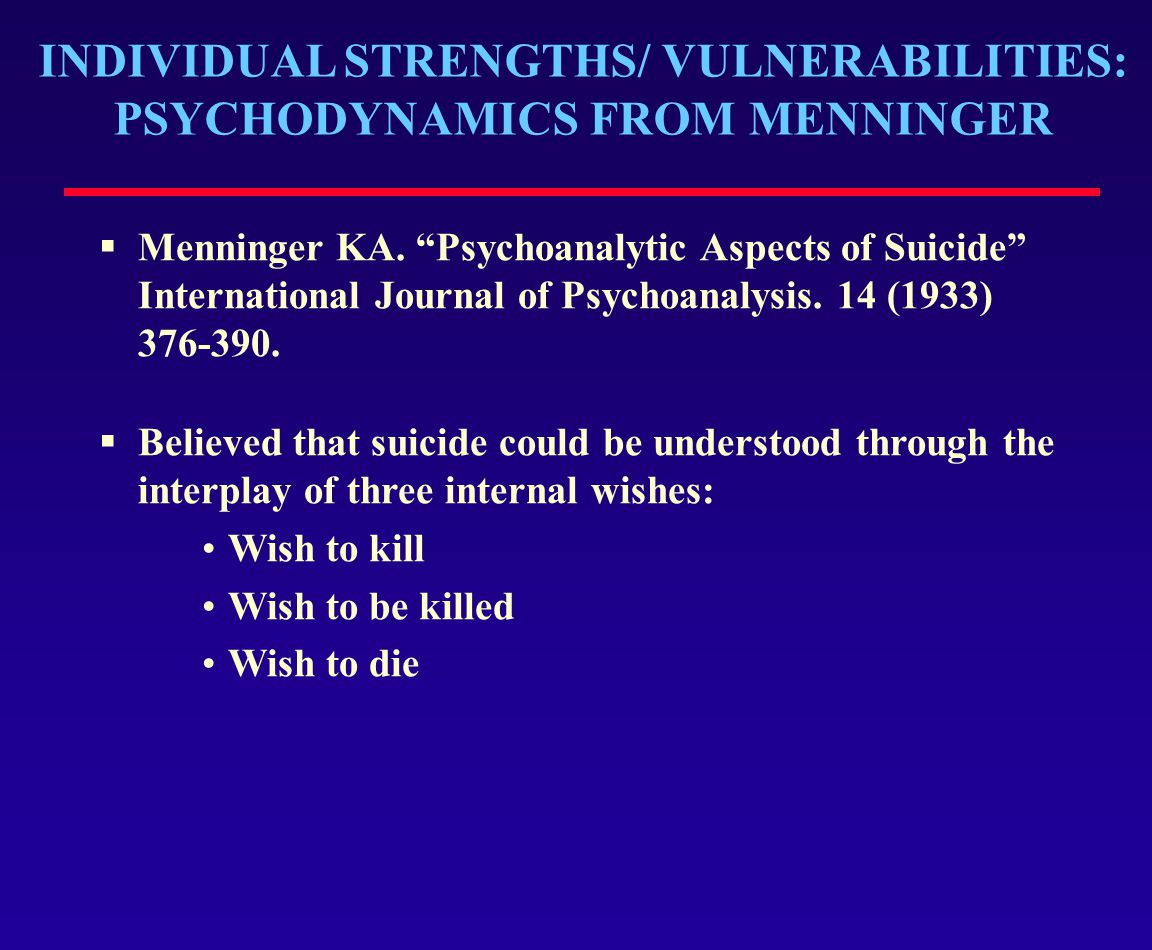 INDIVIDUAL STRENGTHS/ VULNERABILITIES: PSYCHODYNAMICS FROM MENNINGER