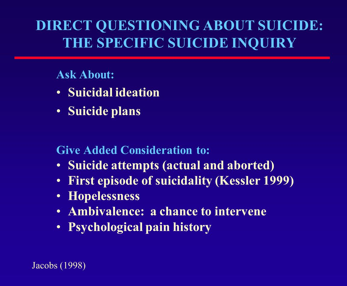 DIRECT QUESTIONING ABOUT SUICIDE: THE SPECIFIC SUICIDE INQUIRY