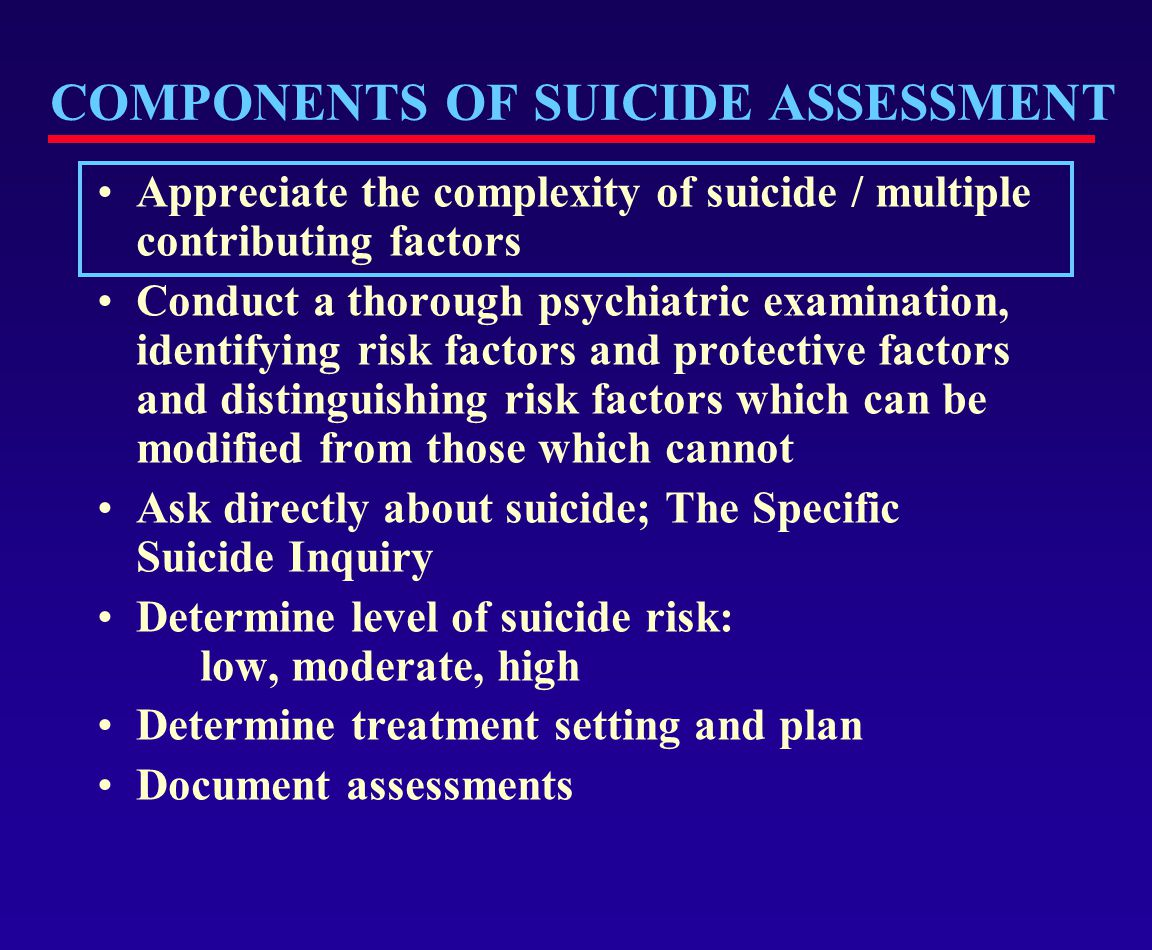 COMPONENTS OF SUICIDE ASSESSMENT