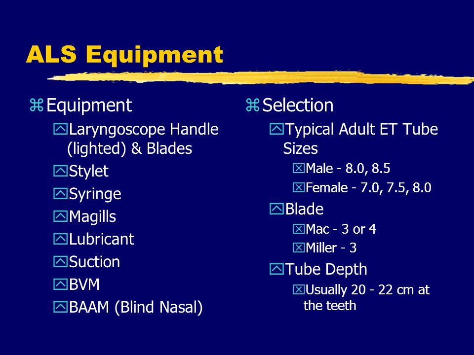 ALS Equipment Equipment Selection