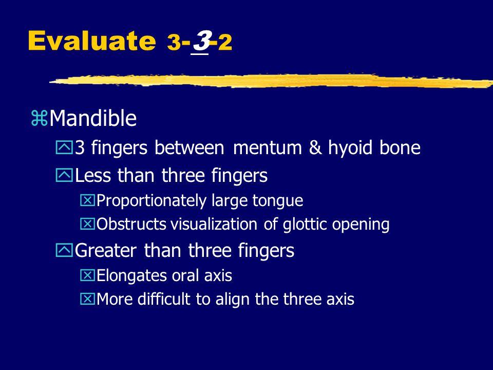 Evaluate 3-3-2 Mandible 3 fingers between mentum & hyoid bone