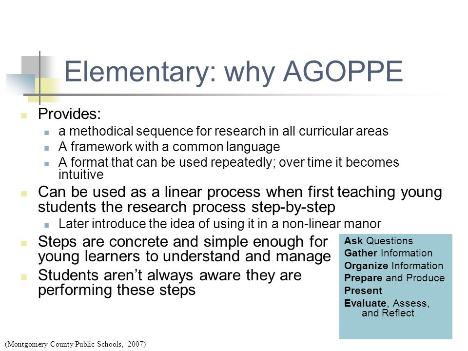 Elementary: why AGOPPE