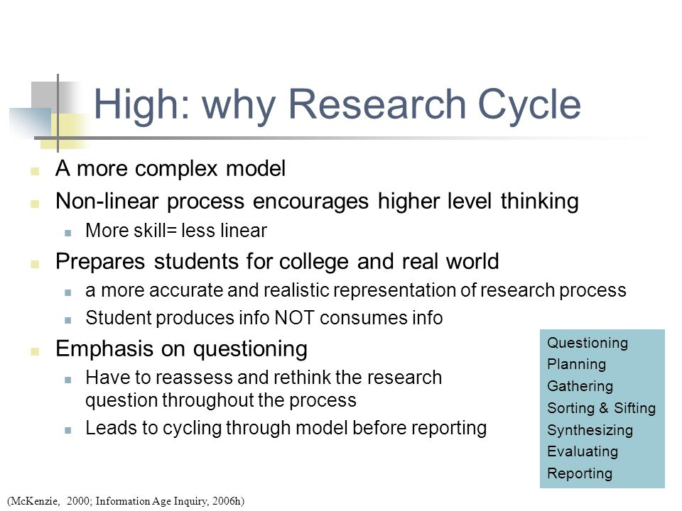 High: why Research Cycle