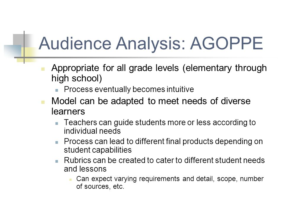 Audience Analysis: AGOPPE