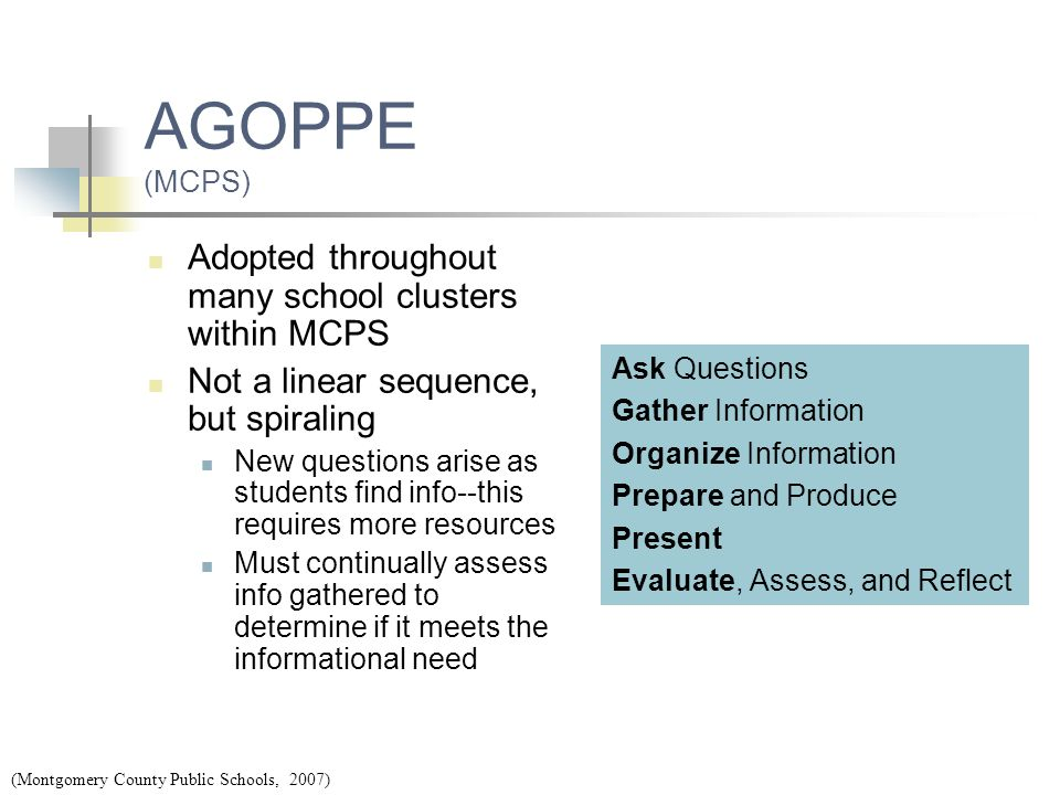 AGOPPE (MCPS) Adopted throughout many school clusters within MCPS