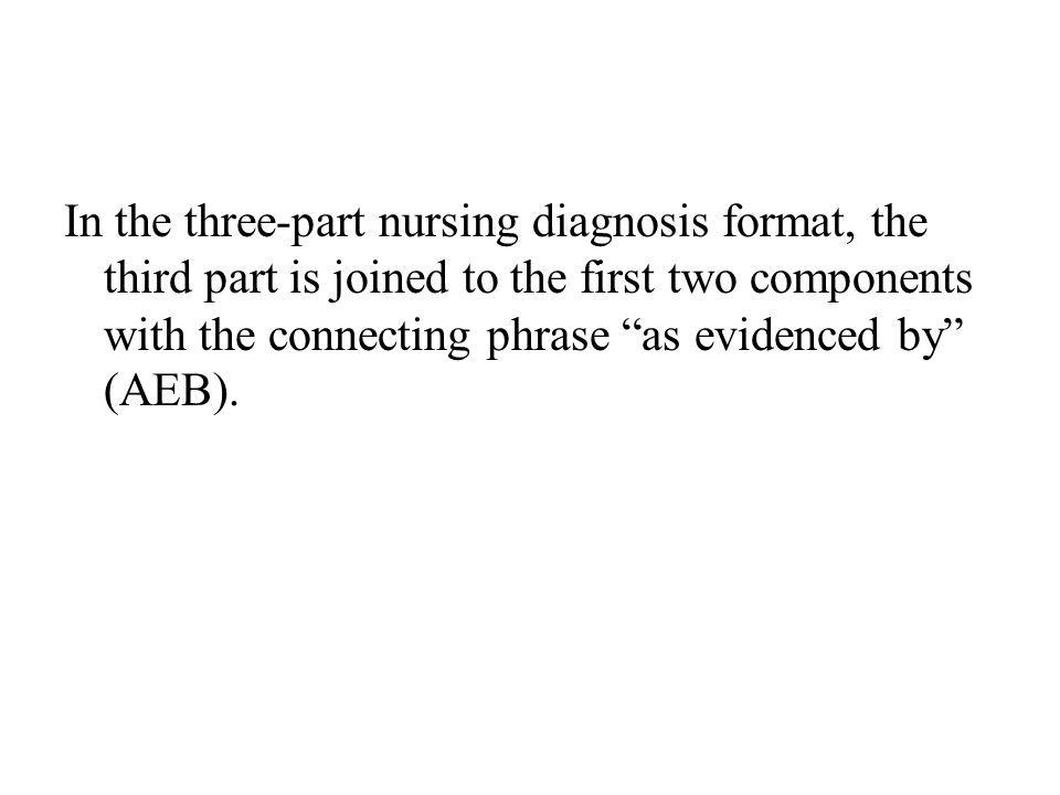 In the three-part nursing diagnosis format, the third part is joined to the first two components with the connecting phrase as evidenced by (AEB).