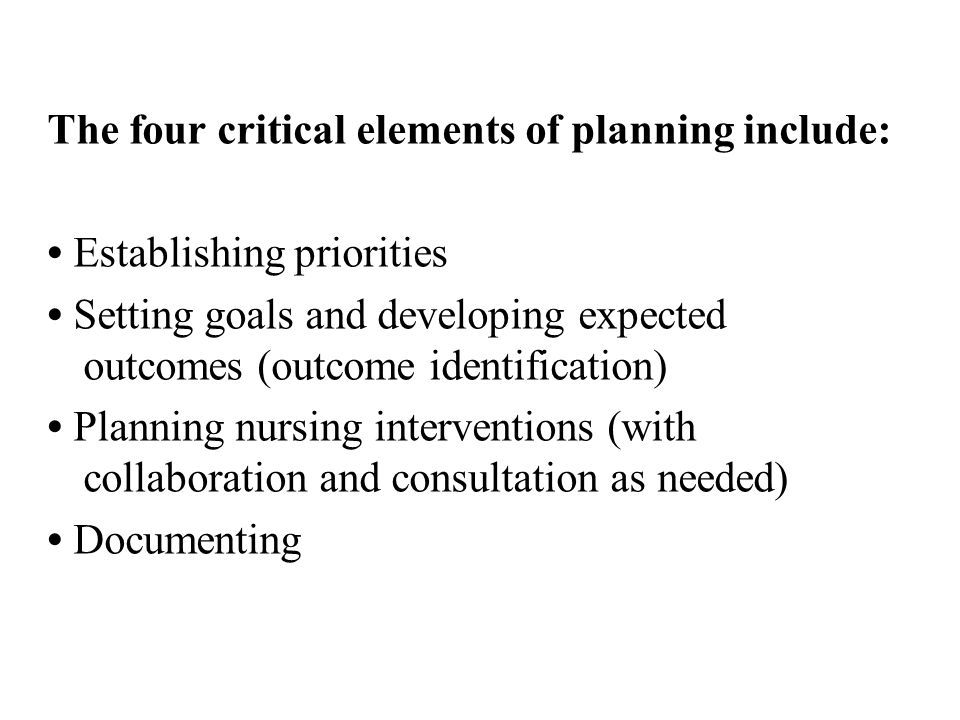 The four critical elements of planning include: