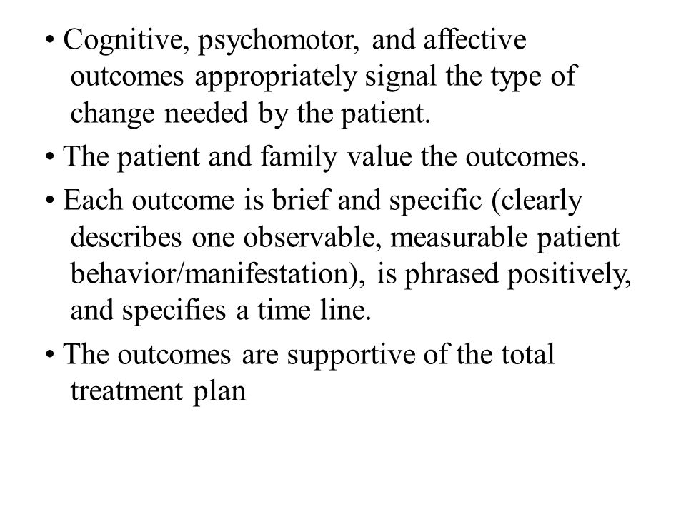 • Cognitive, psychomotor, and affective outcomes appropriately signal the type of change needed by the patient.